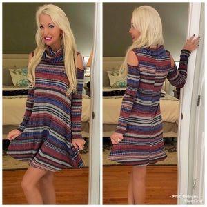 Adorable ribbed cowl neck exposed shoulder dress!